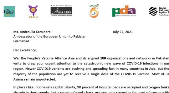 CSOs Call for TRIPS-Waiver for COVID-19 Vaccine Production